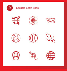 9 earth icons vector image