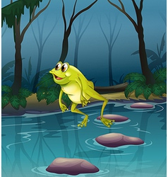 A frog jumping at the pond inside the forest vector