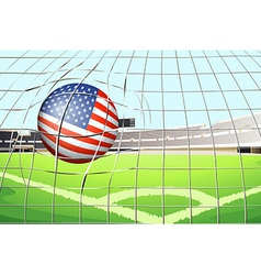 A soccer ball with us flag vector