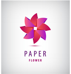 Abstract origami 3d flower logo use vector