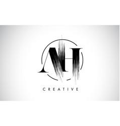 ah brush stroke letter logo design black paint vector image