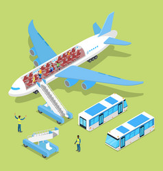 Aircraft interior with passengers isometric vector