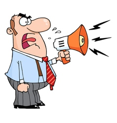 Angry Boss Man Screaming Into Megaphone vector image