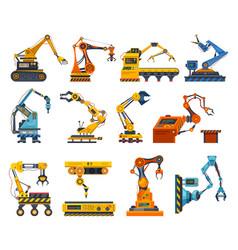 arms robot factory machine industry robotic hands vector image