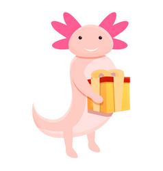Axolotl gift box icon cartoon style vector