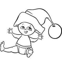 baby boy santa cartoon coloring page vector image