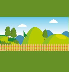 backyard wooden fence cartoon lawn vector image
