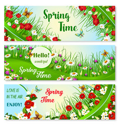 Banners with spring time greeting quotes vector