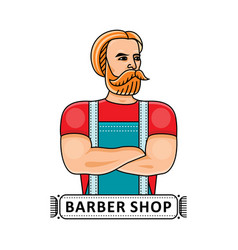 Barbershop logo with handsome hipster barber vector
