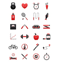 Black red healthy lifestyle icons set vector