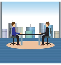 Businesspeople sitting at the table vector image