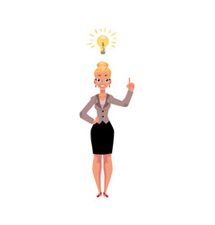 businesswoman having idea light bulb as symbol of vector image