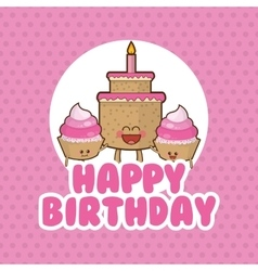 Cake muffin happy birthday design vector