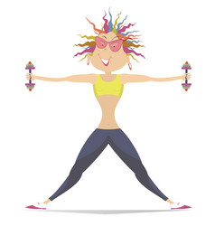cartoon young woman does exercises with dumbbells vector image