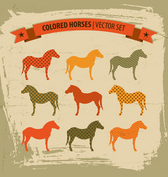 colored horses icons set vector image