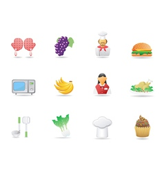 cooking ingredient and Restaurant icons vector image