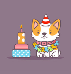 corgi dog celebrate birthday character vector image