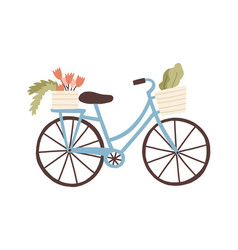 cute hand drawn bicycle or bike isolated on white vector image