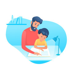 Dad helping son with homework flat vector