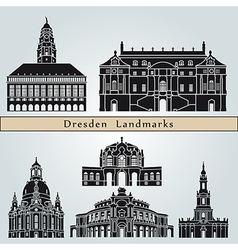 Dresden landmarks and monuments vector image