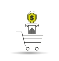 E-commerce cart shop money icon vector