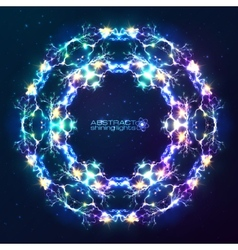 Electric lightnings kaleidoscope frame vector