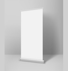 empty white paper rool up advertising banner vector image