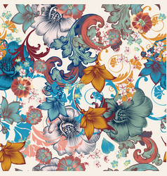 fashion vintage elegant pattern with flowers vector image