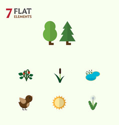 flat icon nature set of berry forest pond and vector image