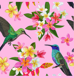 floral tropical seamless pattern with hummingird vector image