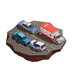 frontal crash isometric composition vector image