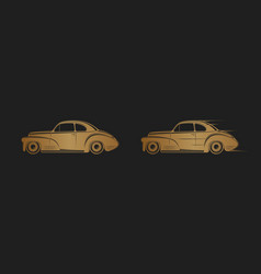 golden classic car silhouette on black background vector image