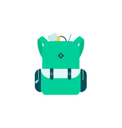 green school bag with sticking out stationery and vector image
