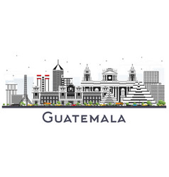 guatemala city skyline with gray buildings vector image