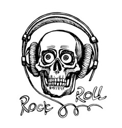 Hand drawn sketchy skull with headphones vector