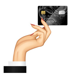 hand of woman holding a credit card vector image
