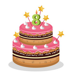Happy birthday cake with candle number vector