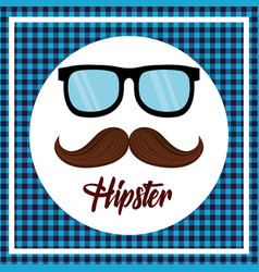 hipster style mustache and glasses vector image