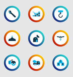 industrial icons colored set with hook plumbing vector image