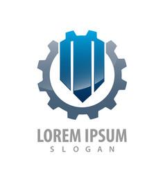 initial letter m gear logo concept design symbol vector image