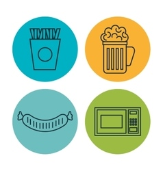 kitchen utensils and food isolated icons vector image