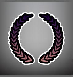 laurel wreath sign violet gradient icon vector image