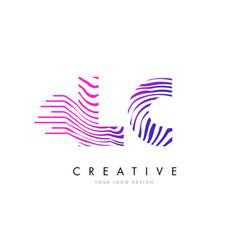 Lc l c zebra lines letter logo design with vector