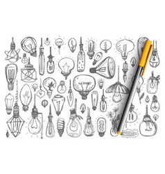 light bulbs doodle set collection vector image