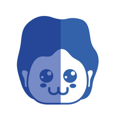 Line man head with expression and hairstyle vector