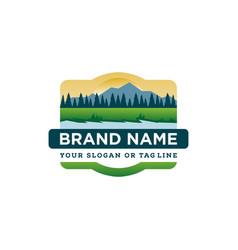 Logo river mountain landscape vector