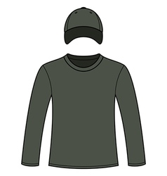 Long-sleeved T-shirt and cap template vector image