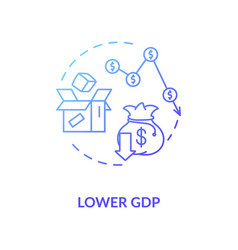 Lower gdp blue gradient concept icon vector
