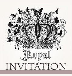 Luxury invitation card with crown vector