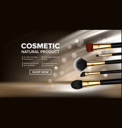 makeup brush banner artist icon vector image